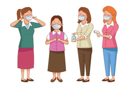 covid preventive at school scene with teachers wearing face masks vector illustration design