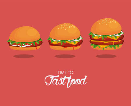 hamburgers sizes delicious fast food icons vector illustration design
