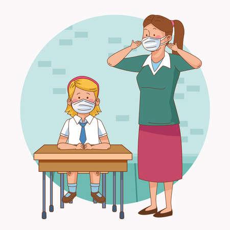 covid preventive at school scene with teacher and student girl in desk vector illustration design
