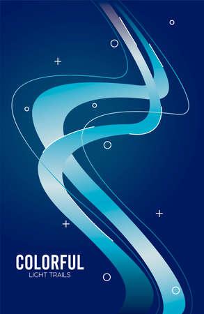 colorful light trail in blue background vector illustration design