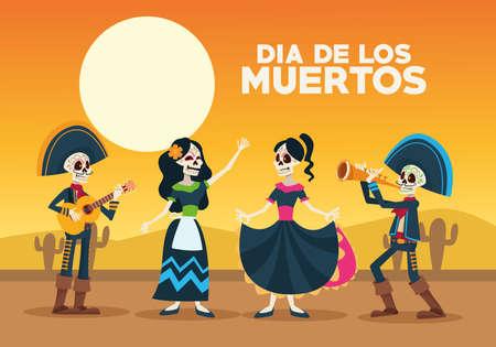 dia de los muertos celebration card with skeletons group in desert vector illustration design