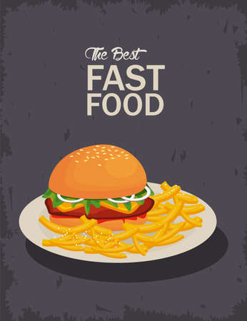 hamburger and french fries in dish delicious fast food icon vector illustration design