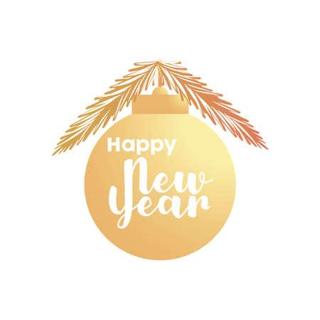 happy new year golden lettering in ball vector illustration design