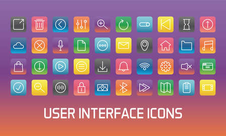 fourty of user interface set block gradient style icons vector illustration design