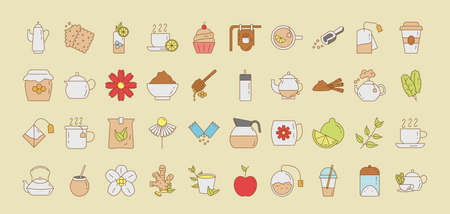 bundle of forty tea set fill style icons vector illustration design