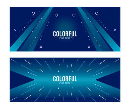 colorful light trail in blue backgrounds vector illustration design
