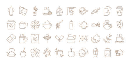 bundle of forty tea set line style icons vector illustration design Çizim