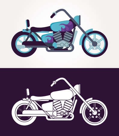 chopper motorcycles style vehicles icons vector illustration design