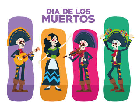 dia de los muertos lettering card with skeletons group characters vector illustration design