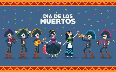 dia de los muertos celebration card with vector illustration design