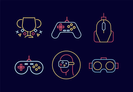 bundle of six video game neon style icons vector illustration design