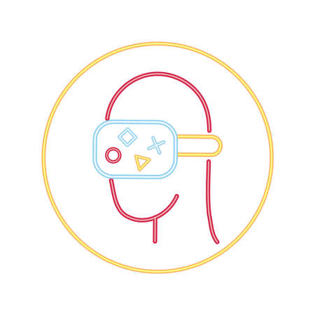 user with rv mask video game neon style icon vector illustration design