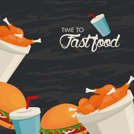 chicken thighs pots and hamburgers with soda delicious fast food vector illustration design