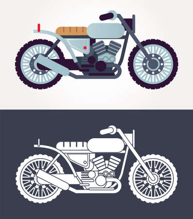 cafe racer motorcycles style vehicles icons vector illustration design