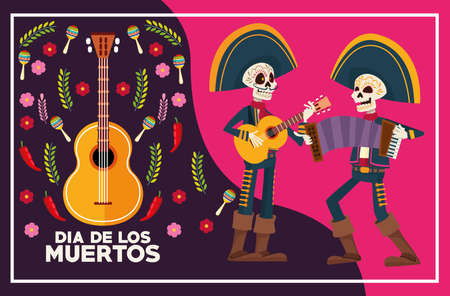 dia de los muertos celebration card with skeletons mariachis playing instruments vector illustration design