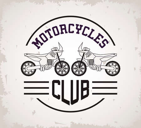 street bikes motorcycles style vehicles with lettering club seal vector illustration design
