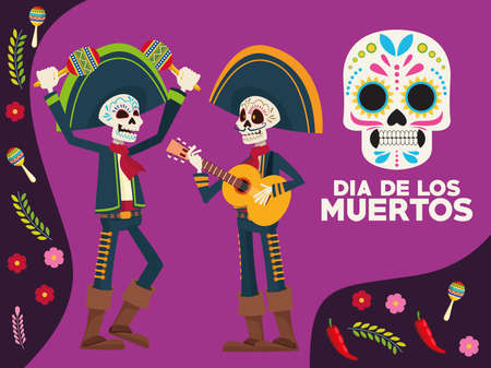 dia de los muertos celebration lettering card with skeletons mariachis and flowers vector illustration design