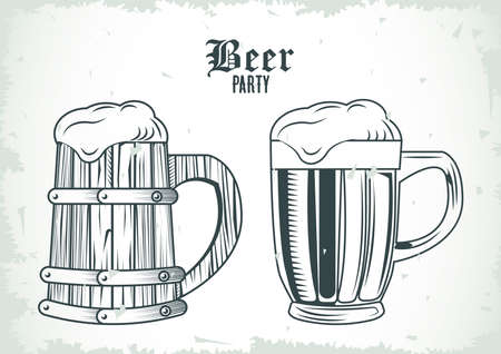 beers jars drinks drawn isolated icons vector illustration design