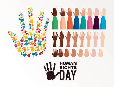 human rights day poster with hands up and hands prints vector illustration design