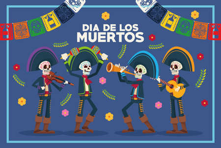 dia de los muertos lettering card with skeletons mariachis and garlands vector illustration design