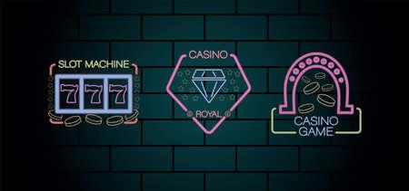 three casino neon lights labels in wall vector illustration design