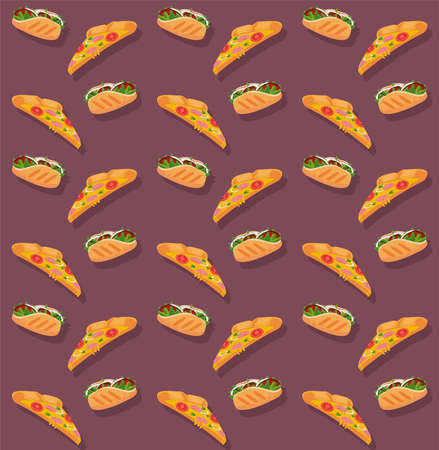 pizzas and burritos delicious fast food pattern vector illustration design