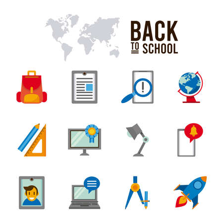 bundle of twelve back to school set icons with lettering vector illustration design