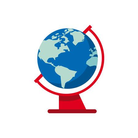 world planet earth flat style icon vector illustration design