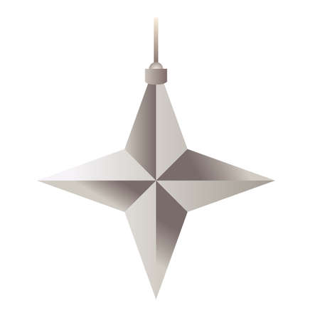 happy merry christmas silver star with four pointed vector illustration design Ilustracja