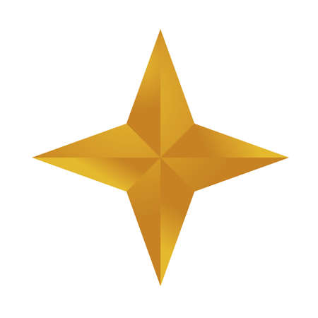 happy merry christmas golden star with four pointed icon vector illustration design  イラスト・ベクター素材