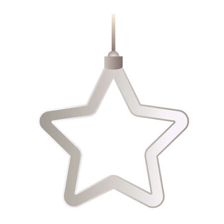 happy merry christmas silver star with five pointed hanging vector illustration design