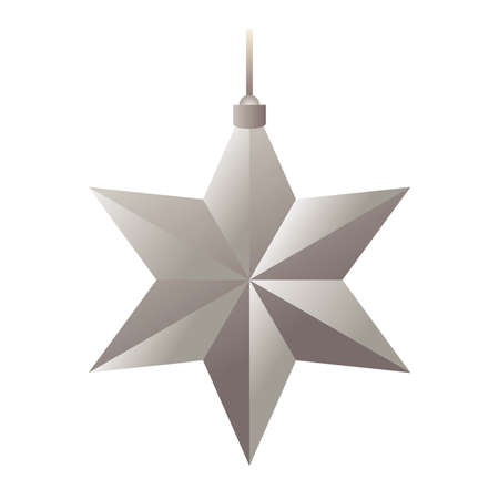 happy merry christmas silver star with six pointed hanging vector illustration design