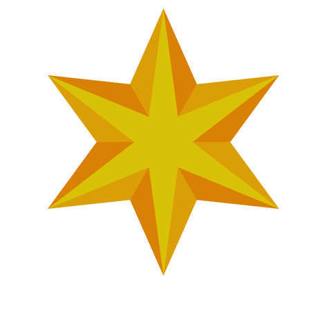 happy merry christmas golden star with six pointed icon vector illustration design  イラスト・ベクター素材