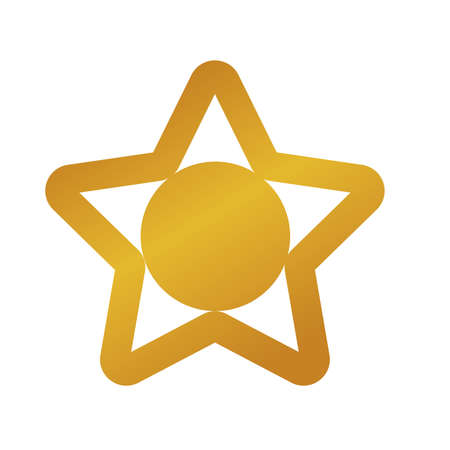 happy merry christmas golden star with five pointed and ball vector illustration design