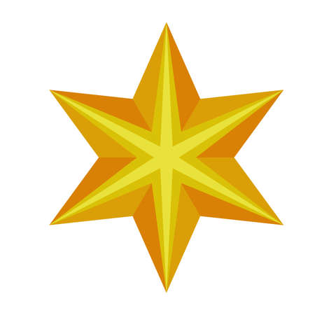 happy merry christmas golden star with six pointed vector illustration design