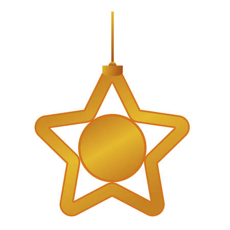 happy merry christmas golden star with five pointed and ball hanging vector illustration design