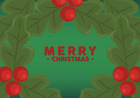 happy merry christmas lettering card with leafs and beans vector illustration design