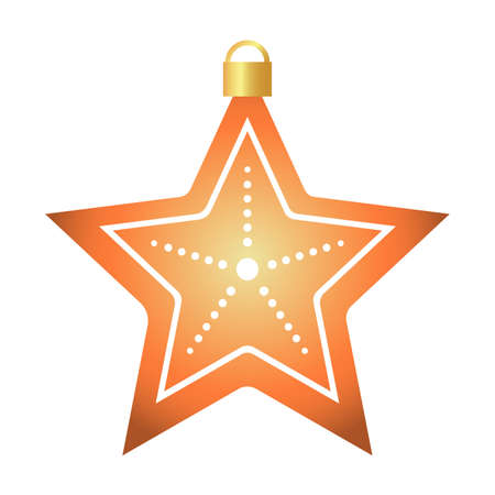 happy merry christmas golden star with five pointed and lights hanging vector illustration design