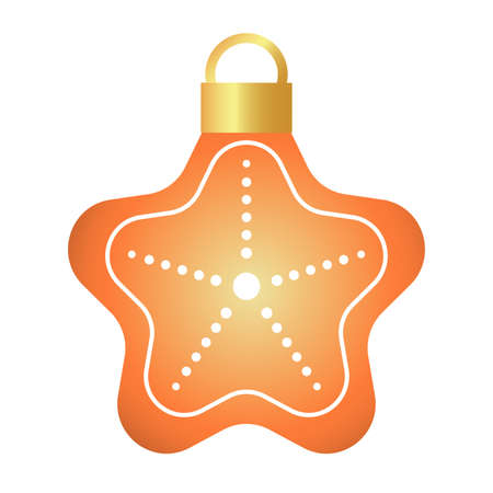 happy merry christmas golden star with five curve pointed and lights hanging vector illustration design
