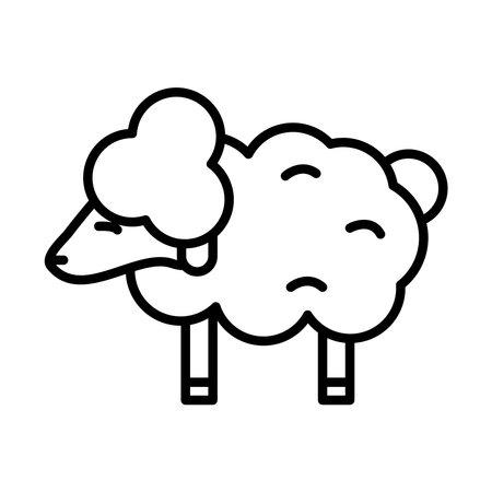 sheep animal line style icon vector illustration design