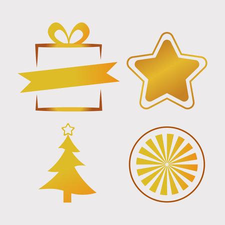 bundle of four happy merry christmas golden icons vector illustration design Ilustracja