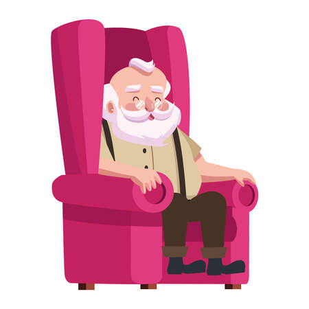cute santa claus seated in sofa character vector illustration design Ilustracja
