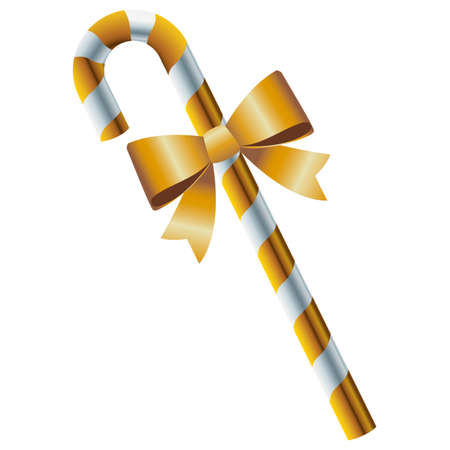 happy merry christmas golden cane and bow vector illustration design
