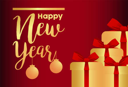 happy new year lettering golden card with gifts and balls vector illustration design