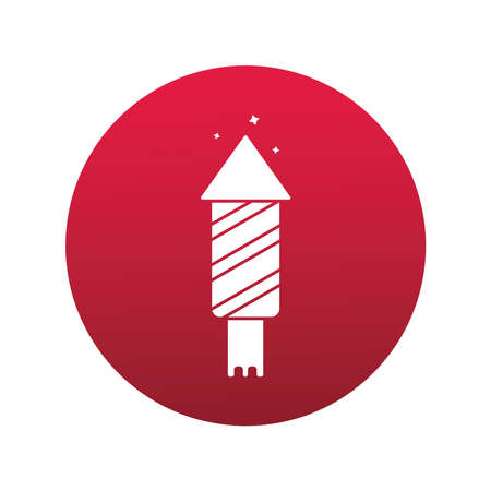 happy merry christmas firework rocket block style icon vector illustration design Vectores