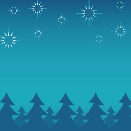 happy merry christmas pines forest scene vector illustration design