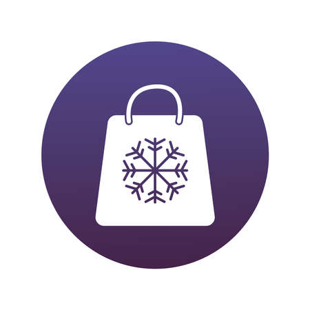 happy merry christmas shopping bag with snowflake block style icon vector illustration design