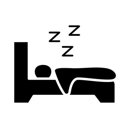 avatar figure sleeping in bed with Insomnia z letters silhouette style icon vector illustration design Vectores