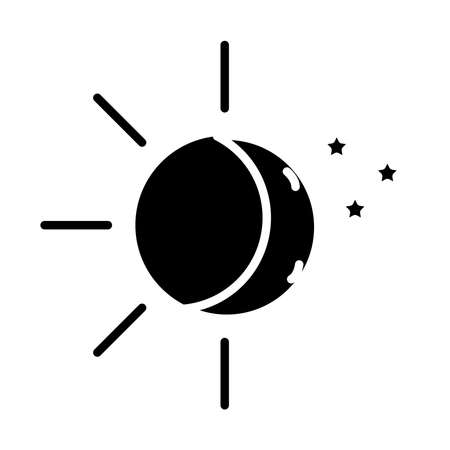 sun and moon with stars insomnia silhouette style icon vector illustration design Vectores