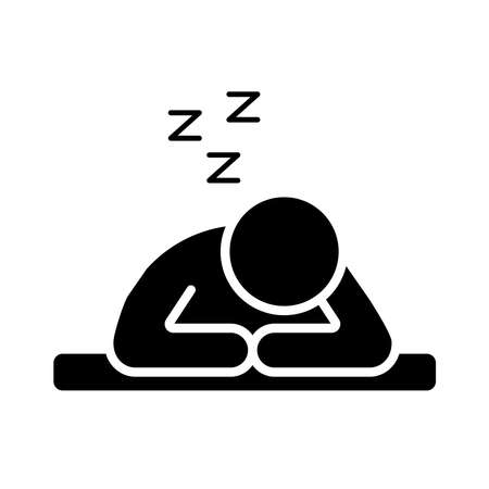 person sleeping with z letters silhouette style icon vector illustration design